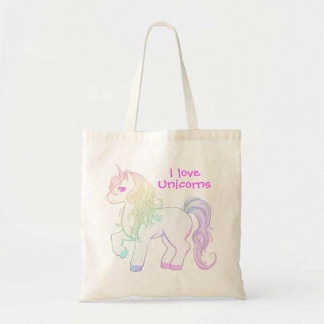 Cute kawaii rainbow coloured unicorn pony tote bag