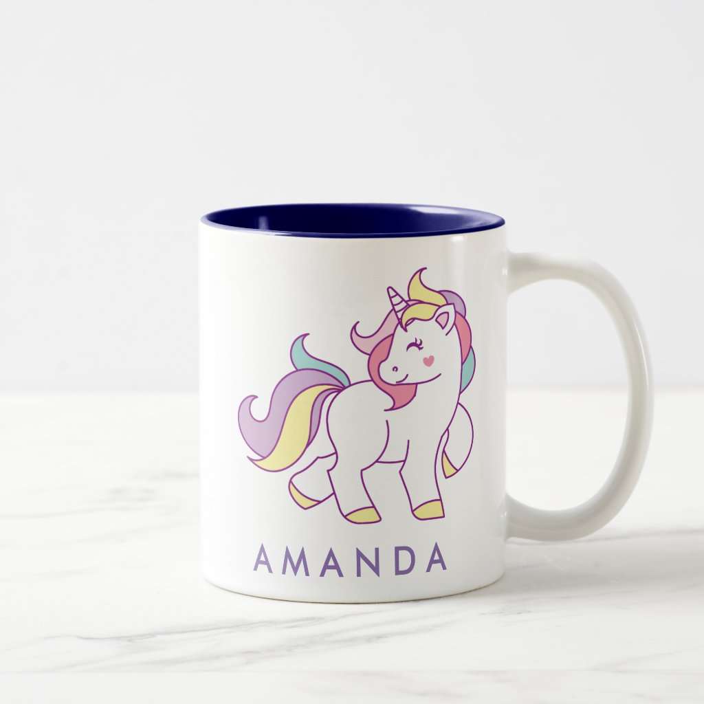 Cute Magical Unicorn Pastel colour Personalised Two-Tone Coffee Mug