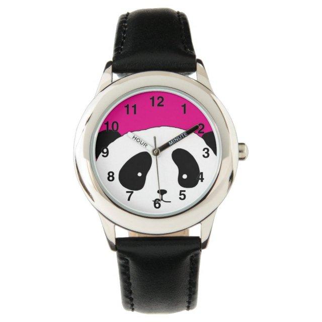 Cute Panda FACE pink watch