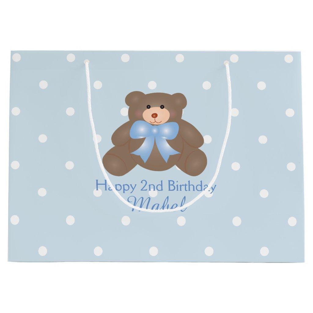 Cute Pastel Blue Ribbon Teddy Bear Boy Birthday Gift Bag
