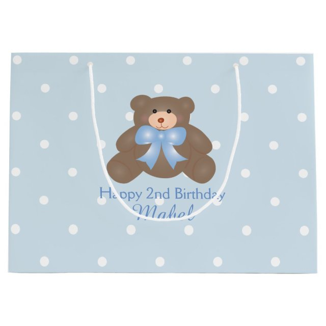 Cute Pastel Blue Ribbon Teddy Bear Boy Birthday