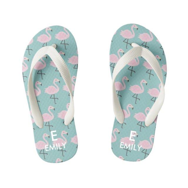 Cute Pastel Flamingo Initial Name Kids Flip Flops