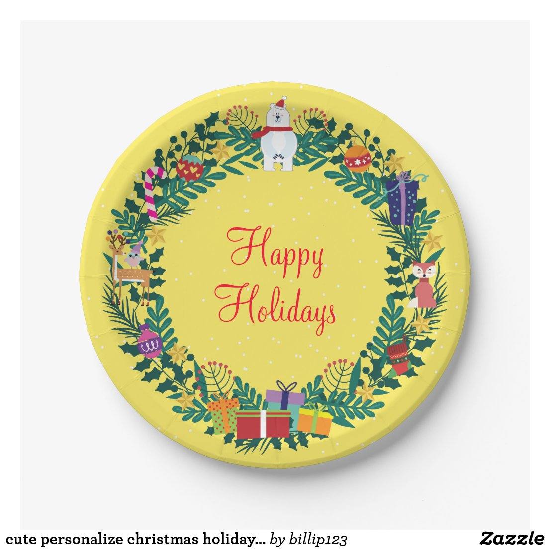 cute personalise christmas holiday floral wreath paper plate
