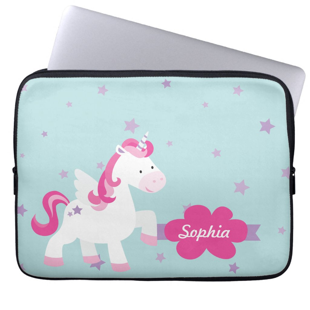 Cute Personalised Magical Unicorn Laptop Sleeve