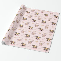 Cute Pink Baby Shower Wrapping Paper