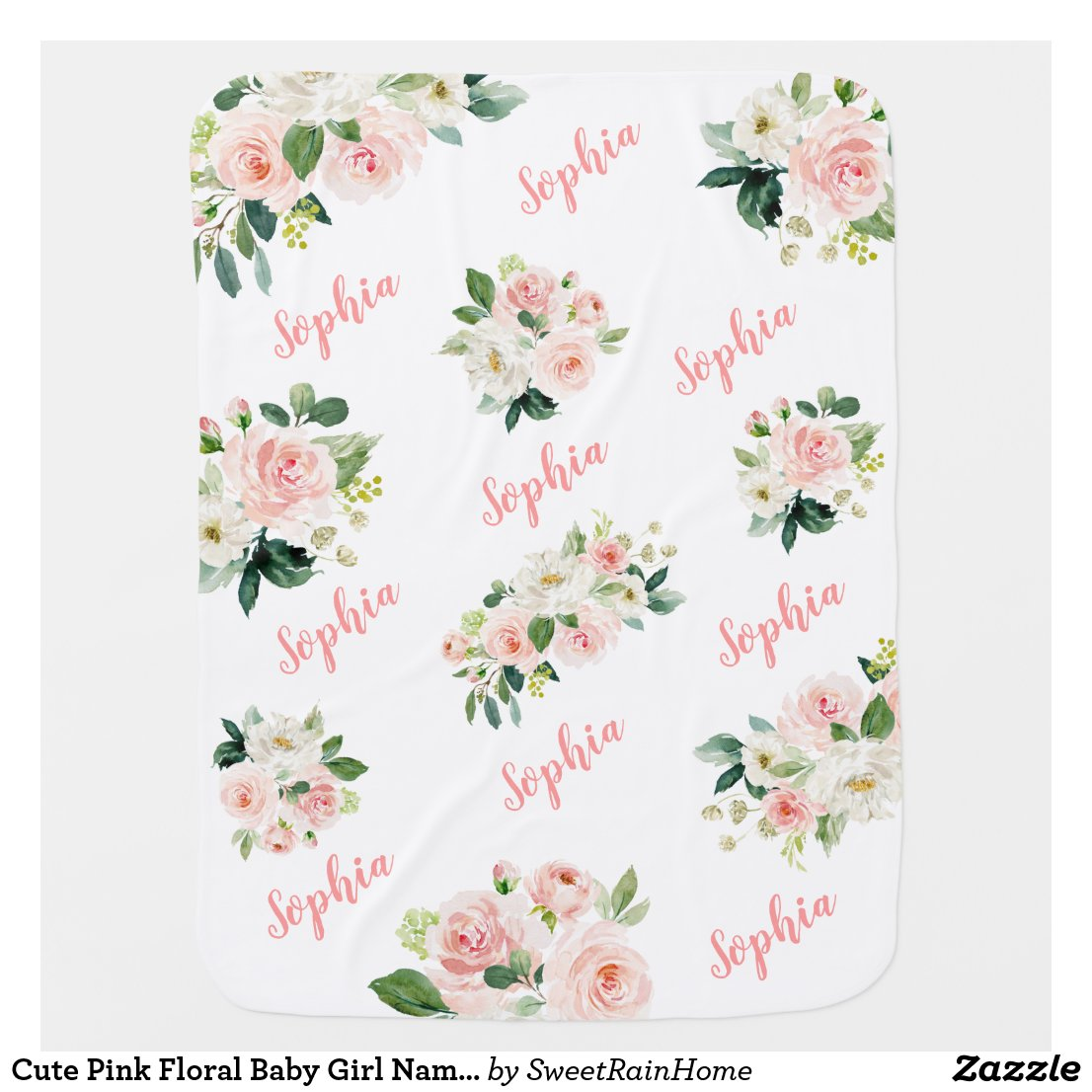 Cute Pink Floral Baby Girl Name Baby Blanket