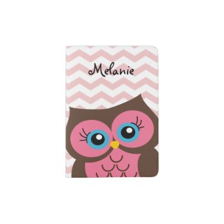 Cute Pink Owl Custom Monogram Passport Holder