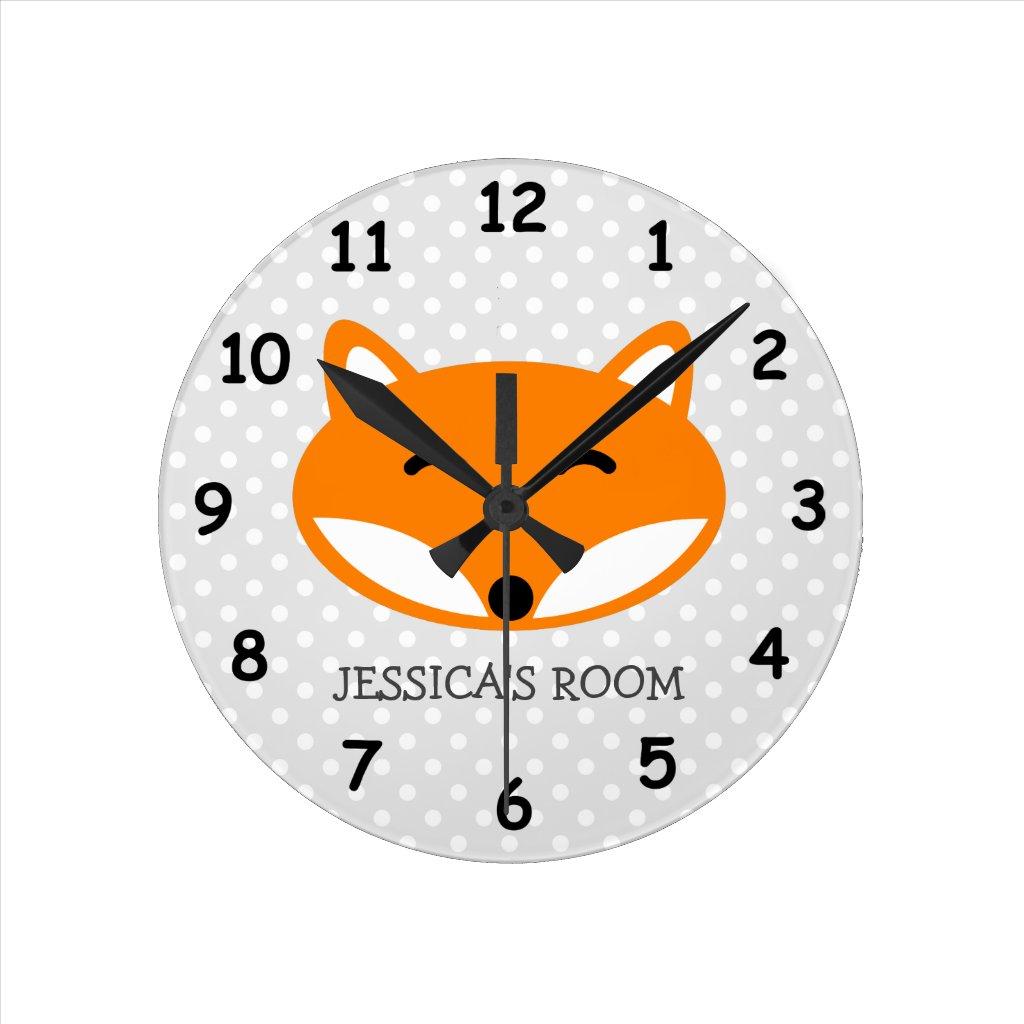 Cute red fox wall clock