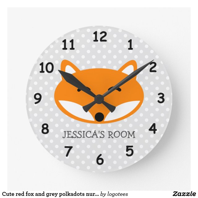 Cute red fox wall clock