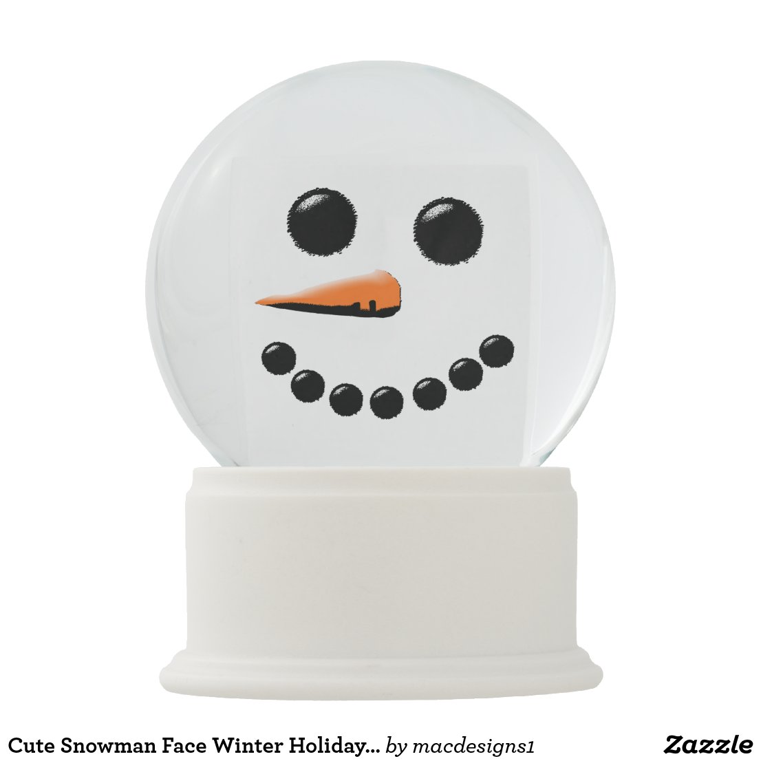 Cute Snowman Face Winter Holiday Snow Globe