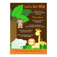 Cute Sweet Jungle Animals Baby Boy Baby Shower Card