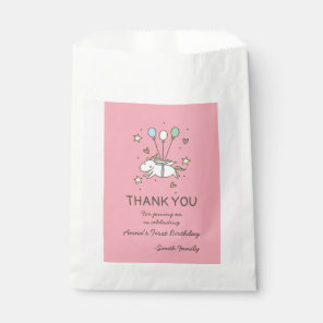 Cute Unicorn Flying on Balloons Birthday Thank You Favour Bags