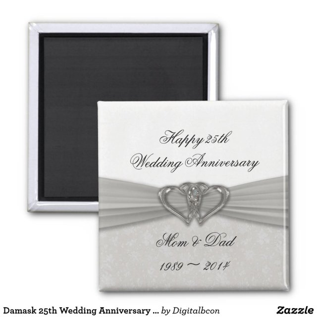 Damask 25th Wedding Anniversary Magnet