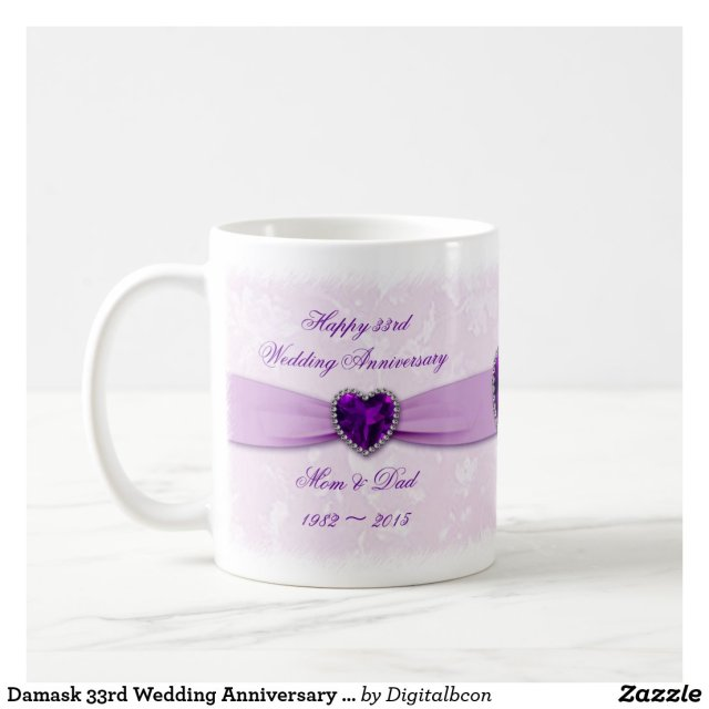 Damask 33rd Wedding Anniversary Mug