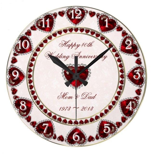 Damask 40th Wedding Anniversary Wall Clock