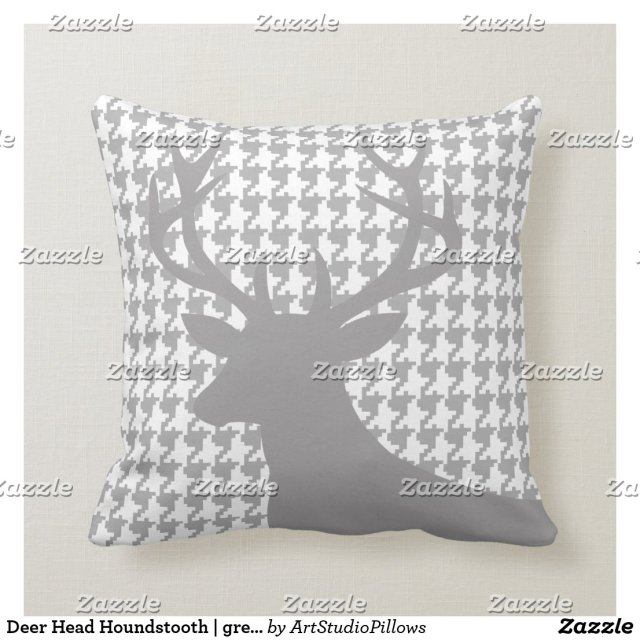 Deer Head Houndstooth | grey white