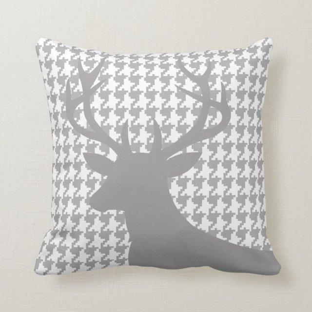 Deer Head Houndstooth Cushion