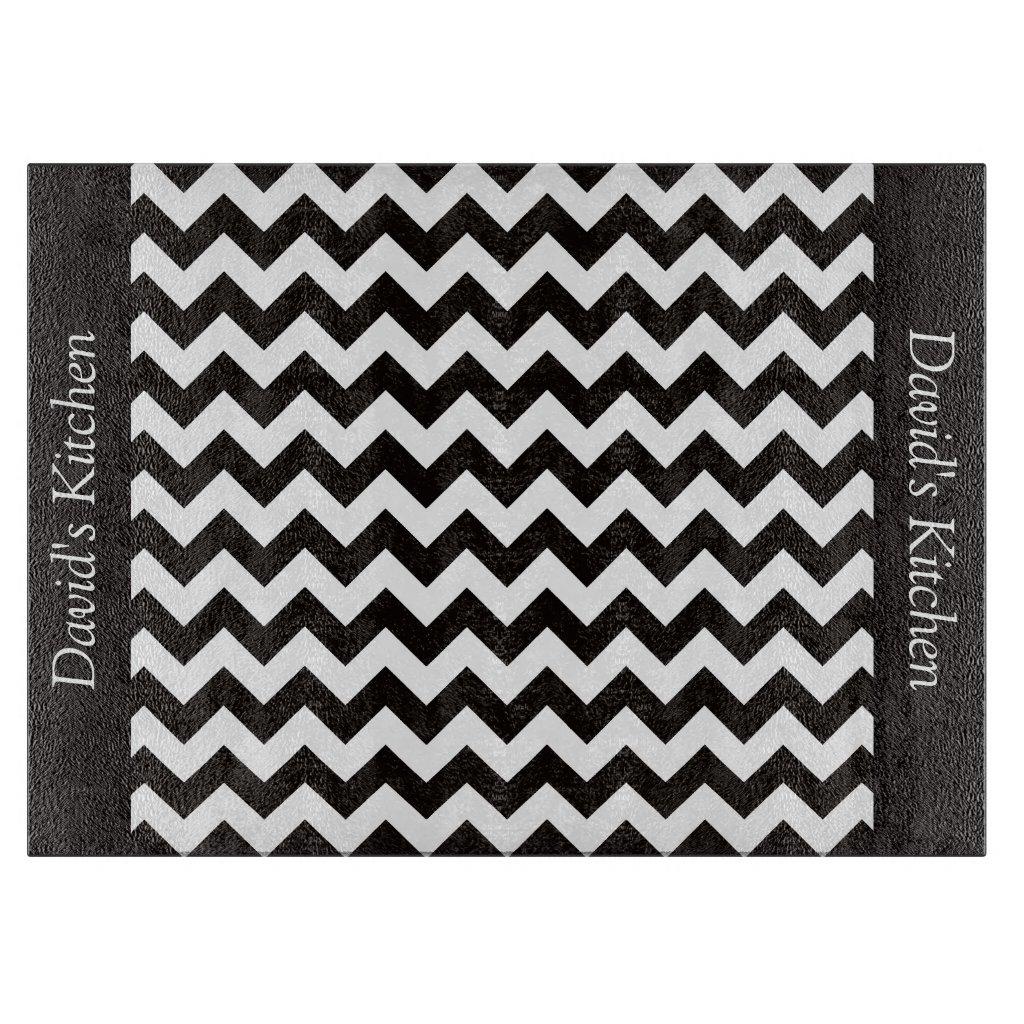 Designer Black Chevron Glass Cutting Board