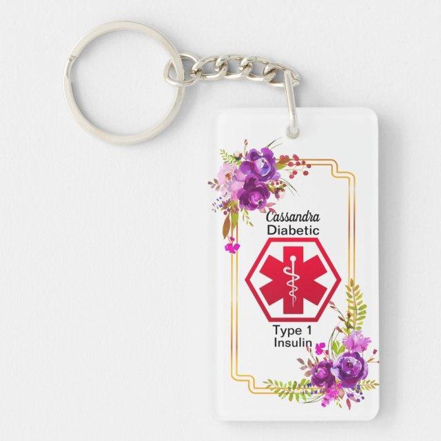 Diabetic Floral Medical Alert  Type 1 Key Ring
