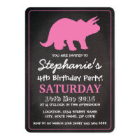 Dinosaur Girls Pink Chalkboard Birthday Party Card