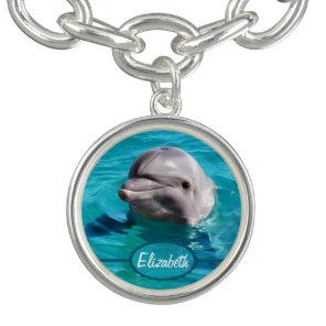 Dolphin in Blue Water Photo Bracelet