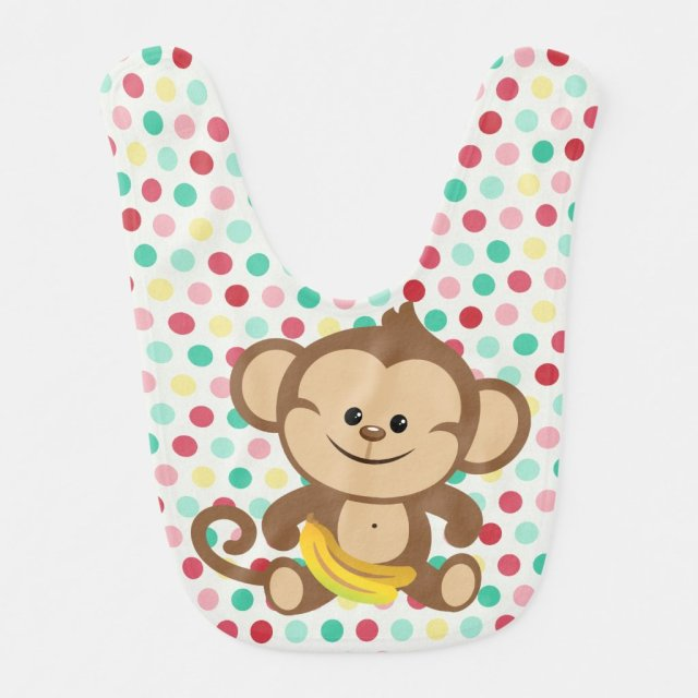 Dotted Monkey With Banana Bib