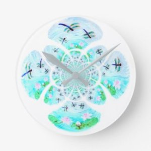 Dragonflies, Lily Flowers pattern