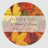 Dry Autumn Leaf Fall Wedding Thank You Sticker