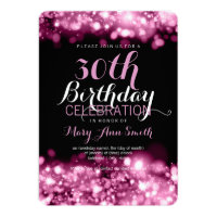Elegant 30th Birthday Party Pink Sparkling Lights Card