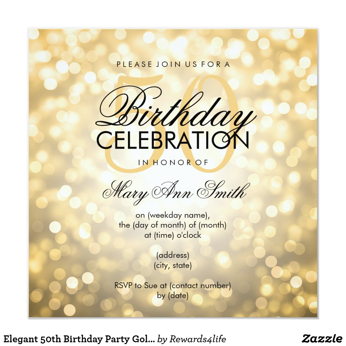 Elegant 50th Birthday Party Gold Glitter Lights