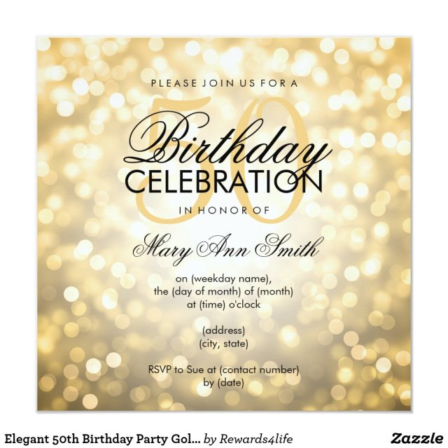 Elegant 50th Birthday Party Gold Glitter Lights
