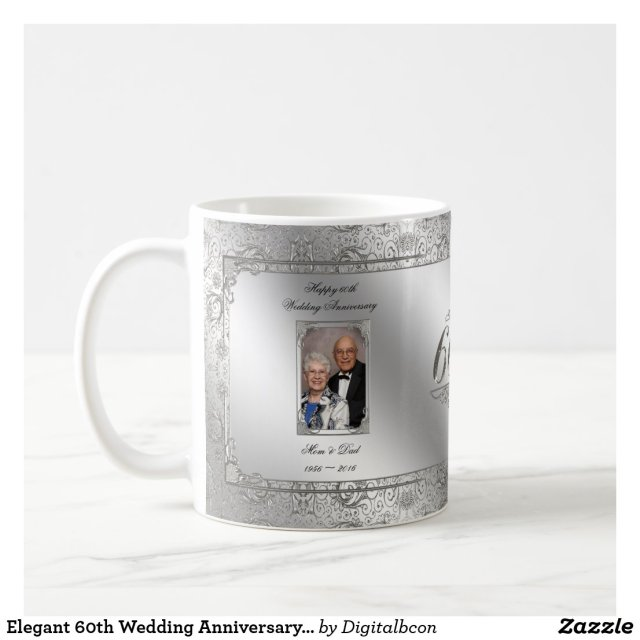 Elegant 60th Wedding Anniversary Photo Coffee Mug