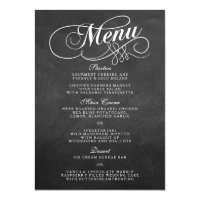 Elegant Chalkboard Wedding Menu Templates 4.5x6.25 Paper Invitation Card