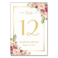 Elegant Chic Pink Floral Gold Wedding Table Number Card