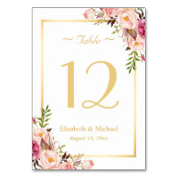 Elegant Chic Pink Floral Gold Wedding Table Number Card