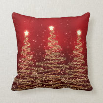 Elegant Christmas Sparkling Trees Red Pillow