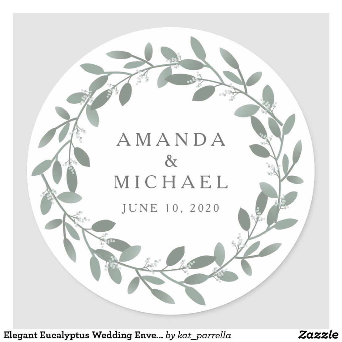 Elegant Eucalyptus Wedding Envelope Seal