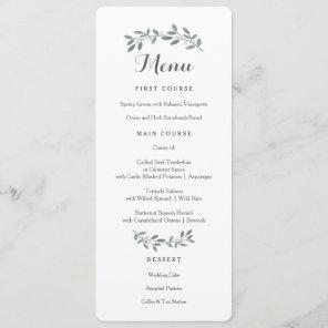 Elegant Eucalyptus Wedding Suite Menu Card