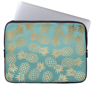 elegant faux gold tropical pineapple pattern laptop sleeve