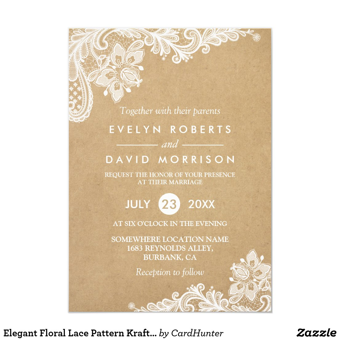 Elegant Floral Lace Pattern Kraft | Formal Wedding