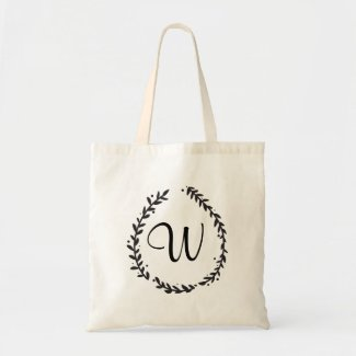 Floral Monogram Tote Bag