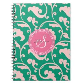 Elegant girly green pink floral pattern monogram notebook