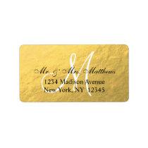 Elegant Gold Black Monogram Wedding Address Label