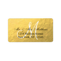 Elegant Gold Black Monogram Wedding Address Label