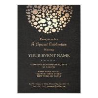 Elegant Gold Circle Sphere Black Linen Look Formal Paper Invitation Card
