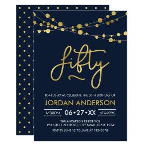 Elegant Modern Blue String of Lights 50th Birthday Card