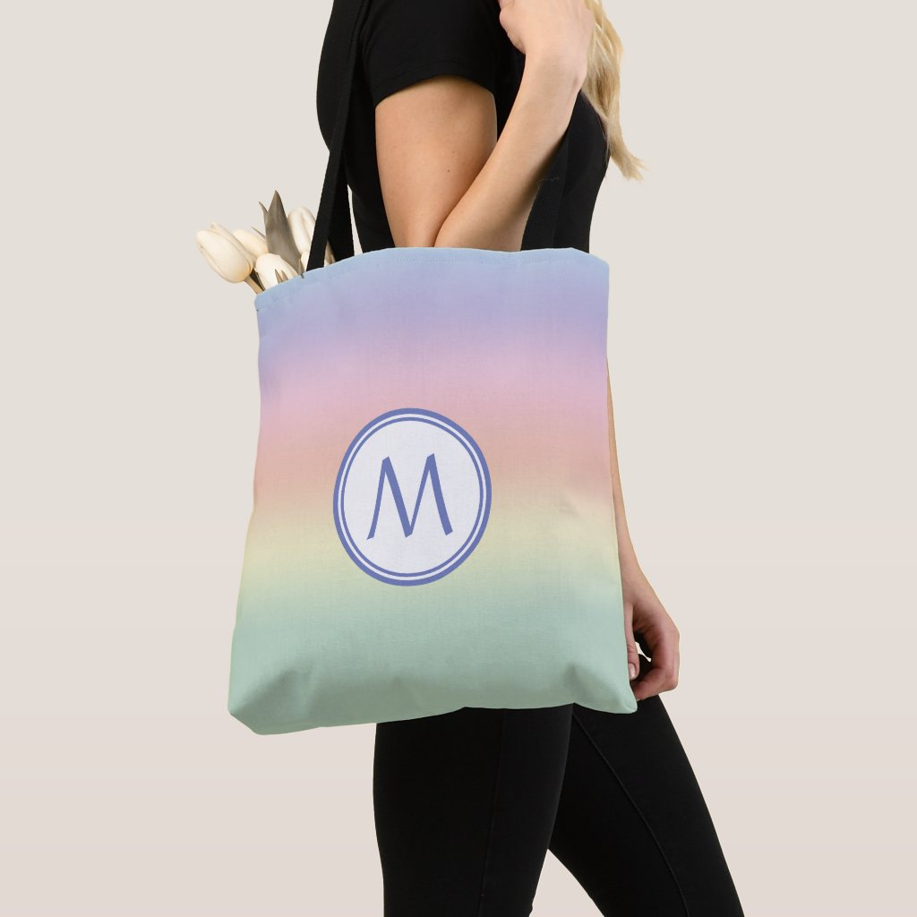Elegant Monogrammed Pastel Rainbow Water Colors Tote Bag