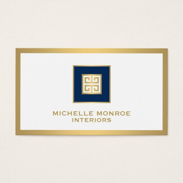 Elegant Navy Blue/Gold Border Greek Key Designer