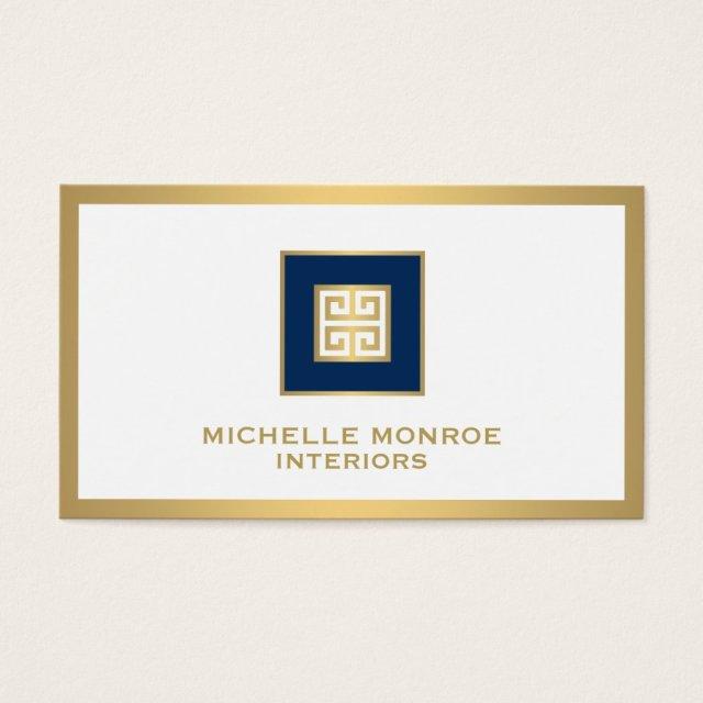 Elegant Navy Blue/Gold Border Greek Key Designer