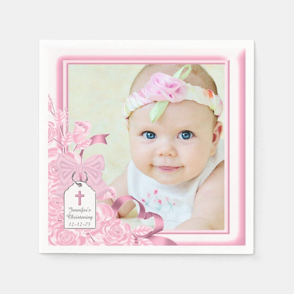 Elegant Pink Rose Photo Christening